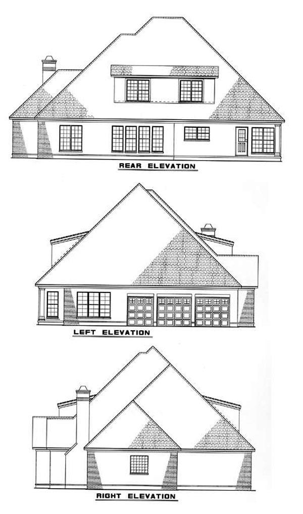 European House Plan 61023 Rear Elevation