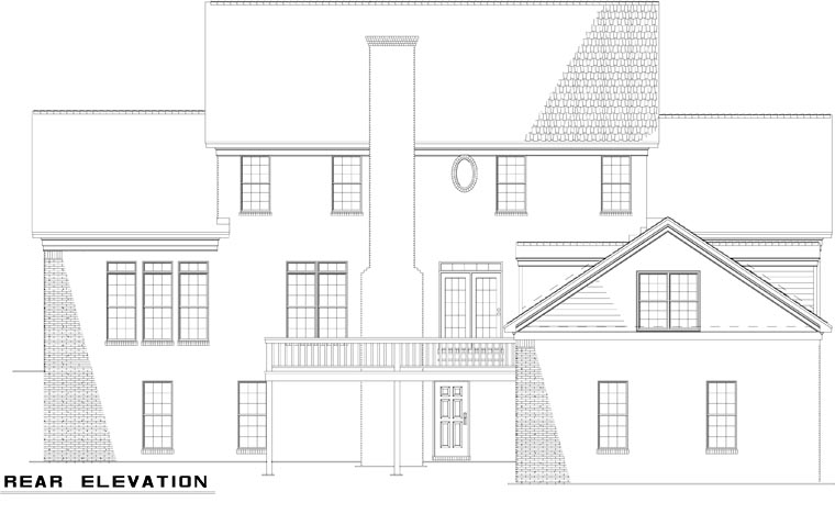Colonial Southern House Plan 61025 Rear Elevation