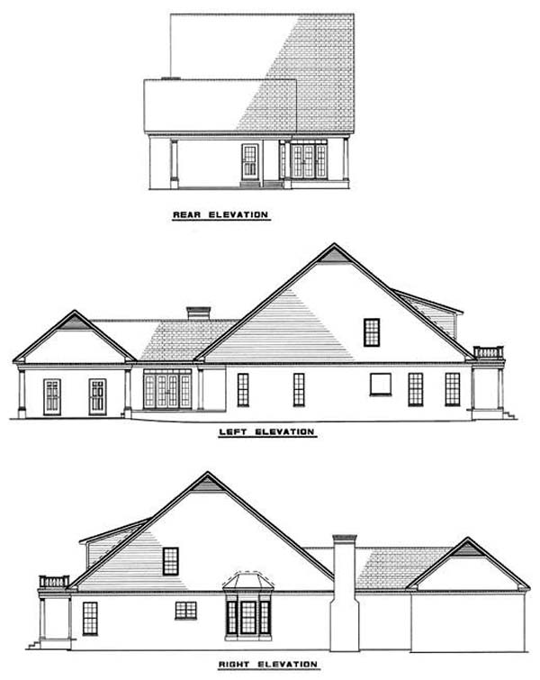 Cape Cod Colonial Southern House Plan 61028 Rear Elevation