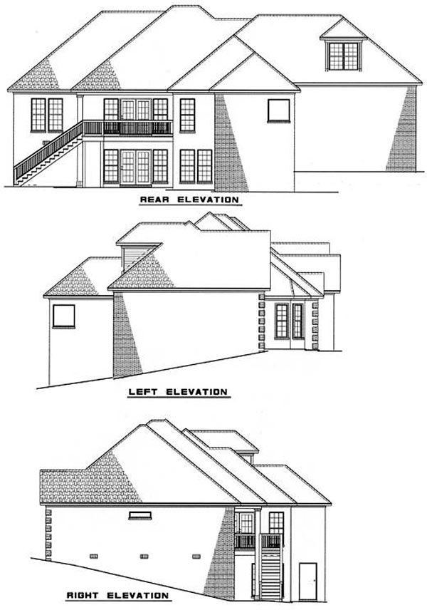 European House Plan 61037 Rear Elevation