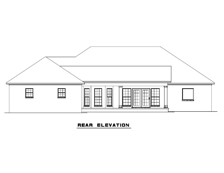 European Traditional House Plan 61039 Rear Elevation