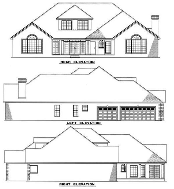 Southern Traditional House Plan 61047 Rear Elevation