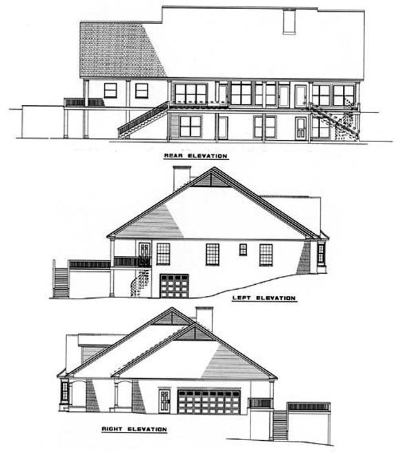 Country Southern House Plan 61052 Rear Elevation