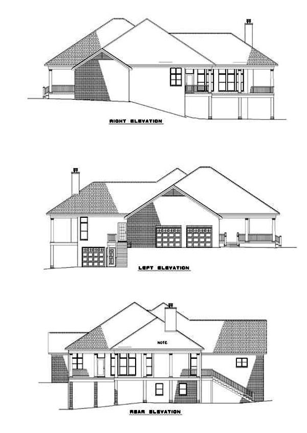 Southern Traditional House Plan 61053 Rear Elevation