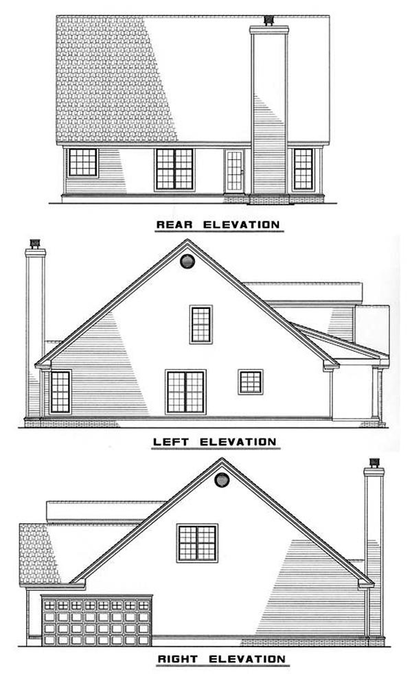 Cape Cod, Traditional House Plan 61063 with 3 Beds, 3 Baths, 2 Car Garage Rear Elevation