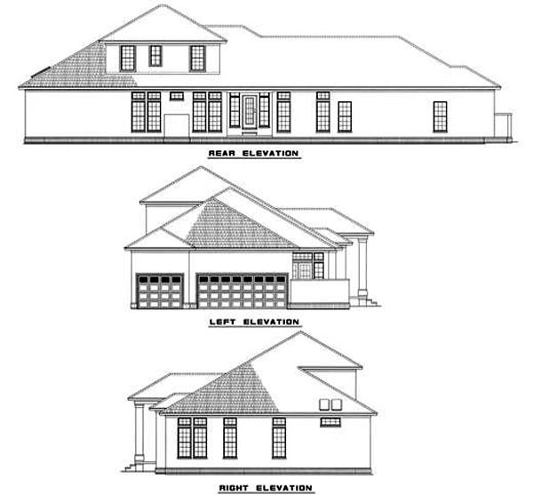 Colonial Contemporary House Plan 61076 Rear Elevation