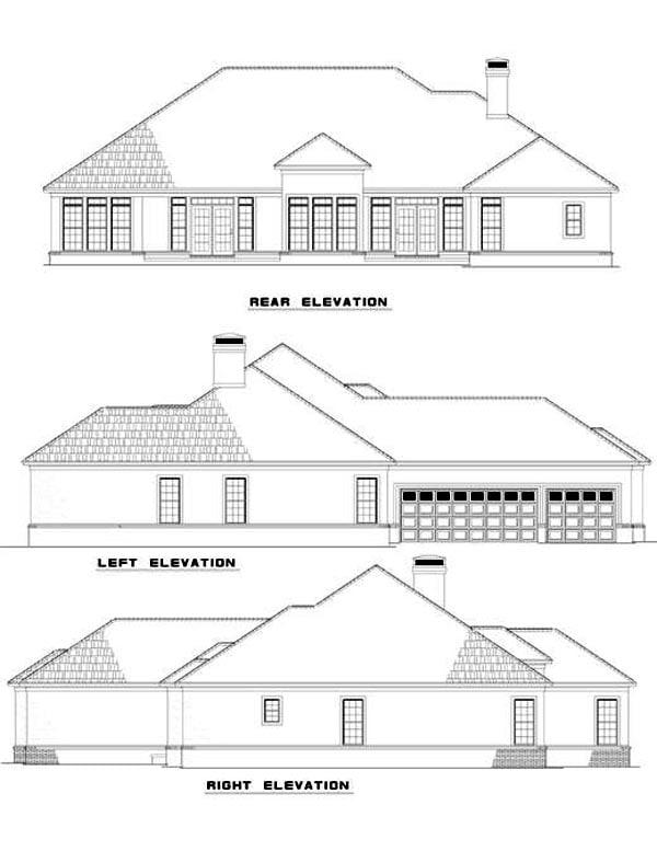 Contemporary European House Plan 61082 Rear Elevation