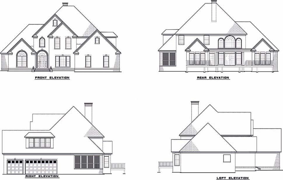 European Traditional House Plan 61086 Rear Elevation