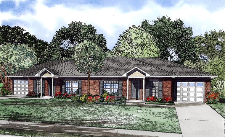 Traditional Multi-Family Plan 61088 Elevation