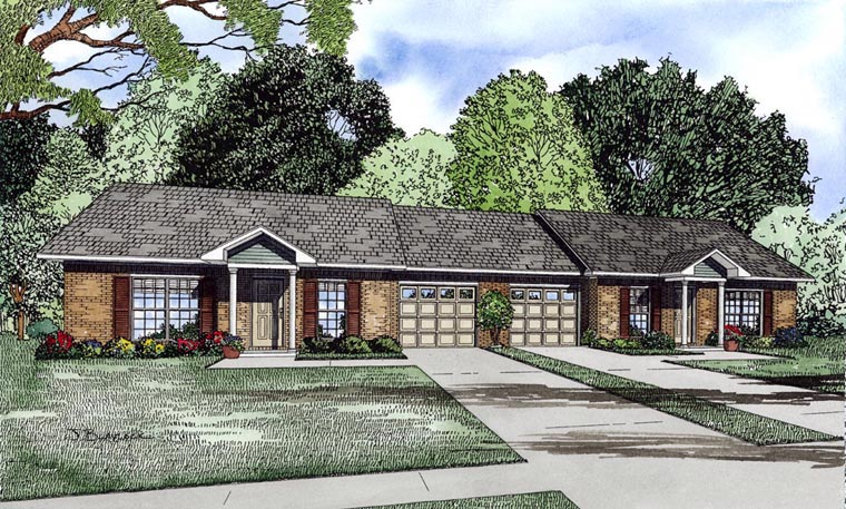 Multi-Family Plan 61090 Elevation