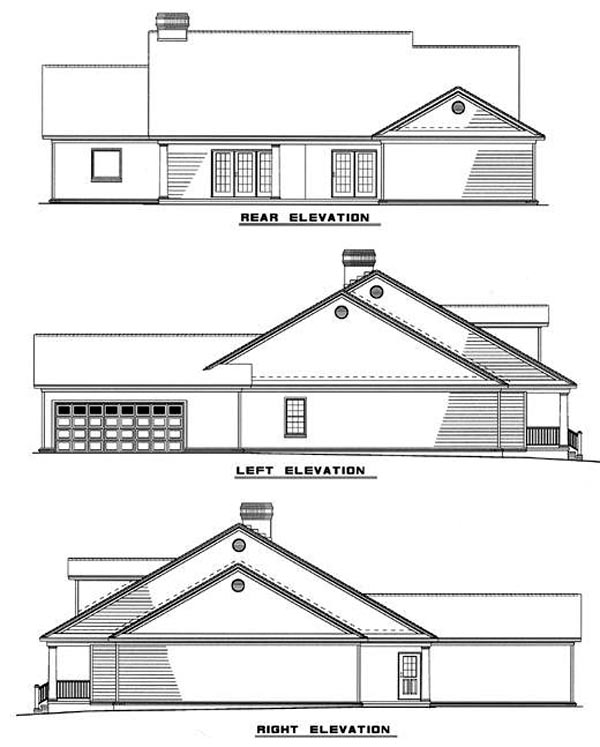 Country Ranch House Plan 61099 Rear Elevation