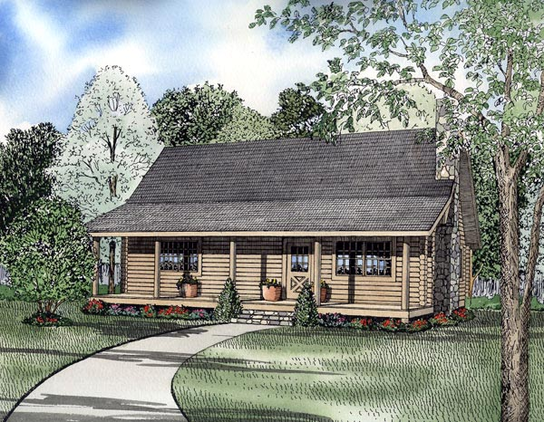 Country Farmhouse Log House Plan 61100 Elevation