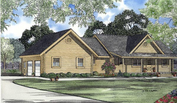 Log House Plan 61102 Elevation