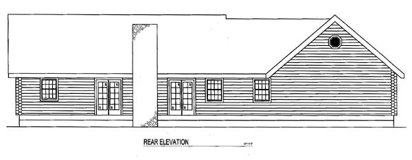 Log House Plan 61102 Rear Elevation
