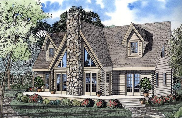 a frame contemporary log house plan 61105 elevation - A Frame House Plans