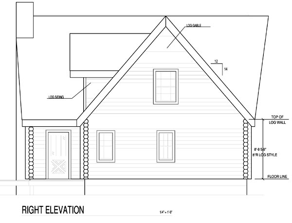 A-Frame Contemporary Log House Plan 61105
