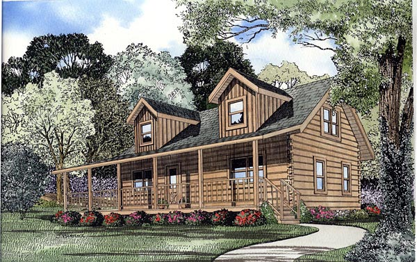 Log House Plan 61111 Elevation