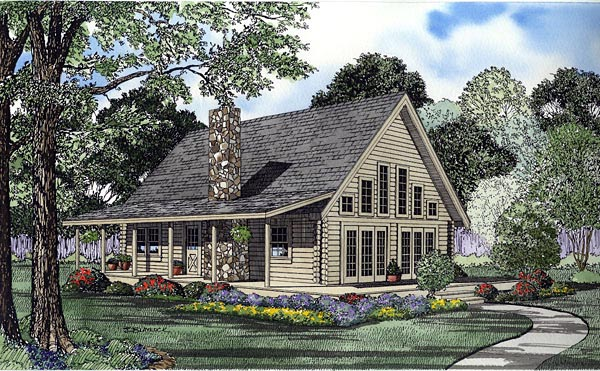 Log House Plan 61124 Elevation