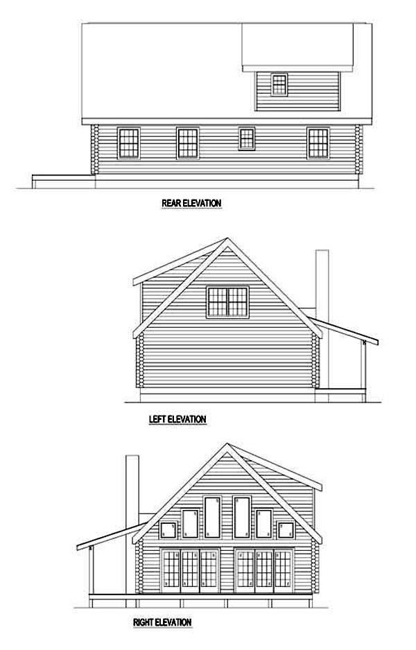 Log House Plan 61124 Rear Elevation