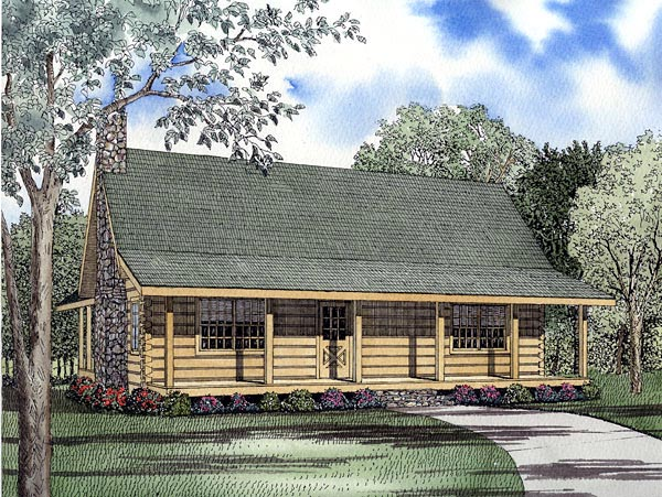 Log House Plan 61134 Elevation