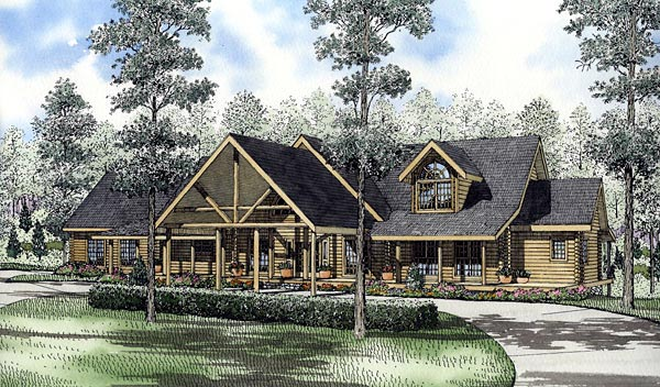 Log House Plan 61140 Elevation
