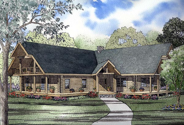 Log House Plan 61145 Elevation