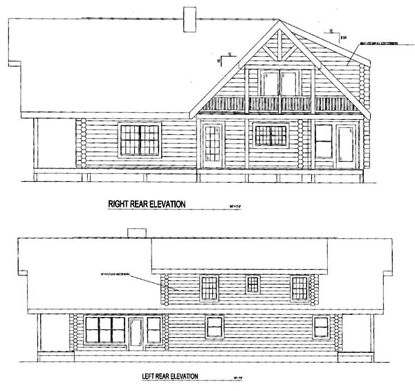 Log House Plan 61145 Rear Elevation