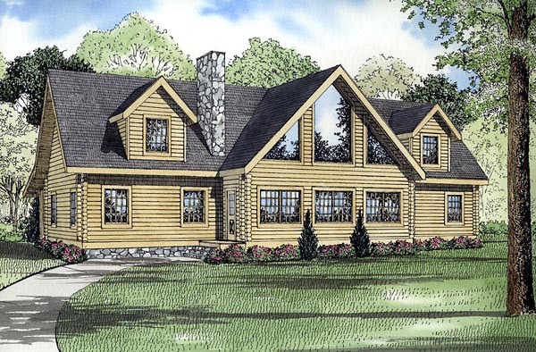 Log House Plan 61148 Elevation