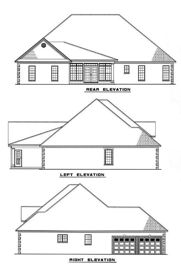 European House Plan 61168 Rear Elevation