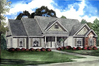One-Story, Southern House Plan 61192 with 3 Beds, 2 Baths, 2 Car Garage Elevation