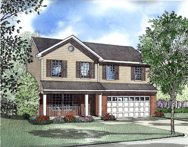 Narrow Lot, Traditional House Plan 61210 with 4 Beds, 3 Baths, 2 Car Garage Elevation