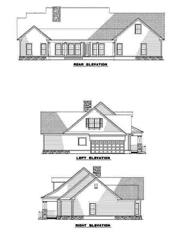 Cape Cod Country Traditional House Plan 61219 Rear Elevation