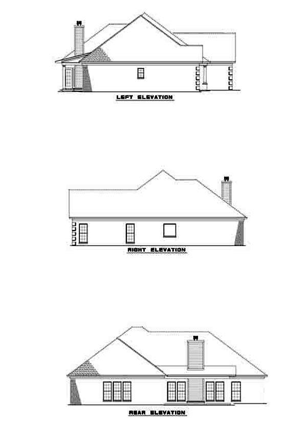 European House Plan 61224 Rear Elevation