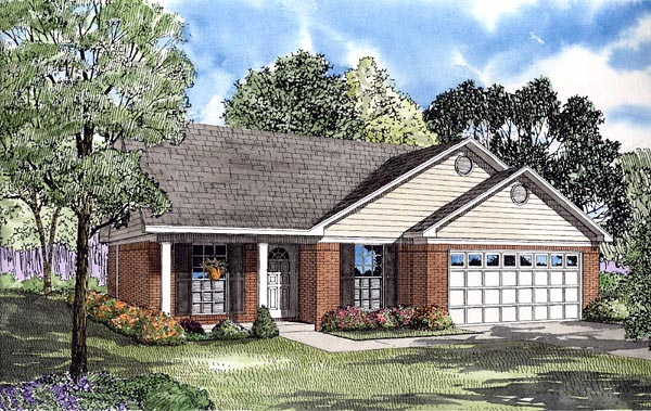 Traditional House Plan 61238 with 3 Beds, 2 Baths, 2 Car Garage Elevation