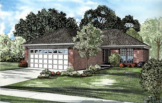Traditional House Plan 61241 with 2 Beds, 1 Baths, 2 Car Garage Elevation