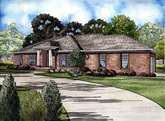 One-Story, Traditional House Plan 61245 with 4 Beds, 2 Baths, 2 Car Garage Elevation