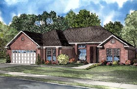 Contemporary , One-Story House Plan 61253 with 3 Beds, 2 Baths, 2 Car Garage Elevation