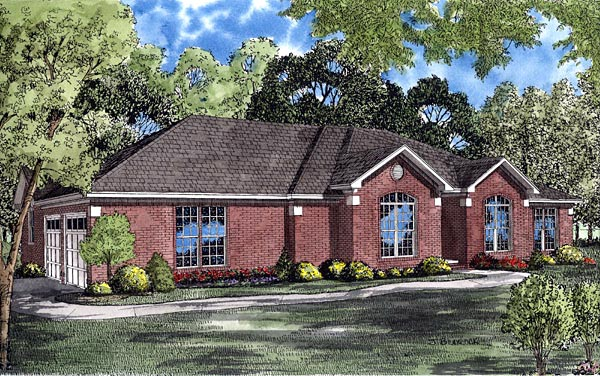 Contemporary European Ranch House Plan 61256 Elevation