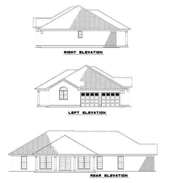Contemporary European Ranch House Plan 61256 Rear Elevation