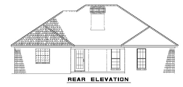 Ranch House Plan 61266 Rear Elevation