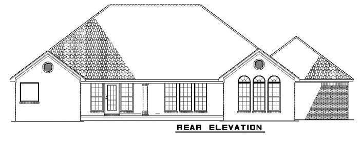 European Traditional House Plan 61273 Rear Elevation