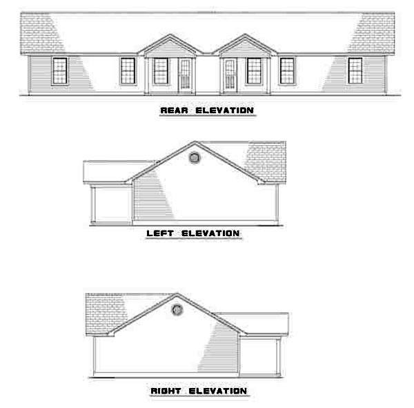 Ranch Multi-Family Plan 61274 Rear Elevation