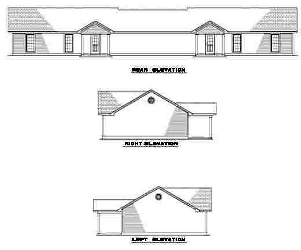 One-Story, Ranch Multi-Family Plan 61275 with 6 Beds, 2 Baths, 2 Car Garage Rear Elevation