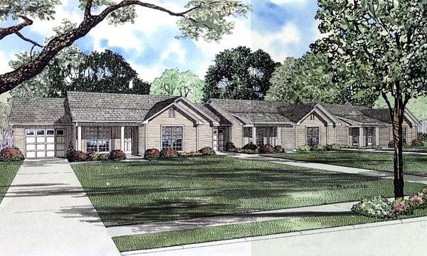 Ranch Multi-Family Plan 61276 Elevation