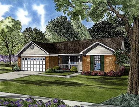 Colonial, One-Story House Plan 61284 with 3 Beds, 2 Baths, 2 Car Garage Elevation