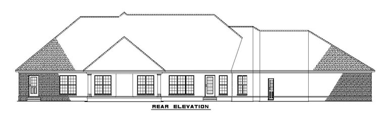 Traditional Rear Elevation of Plan 61291