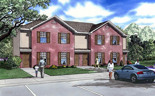 Traditional Multi-Family Plan 61292 Elevation