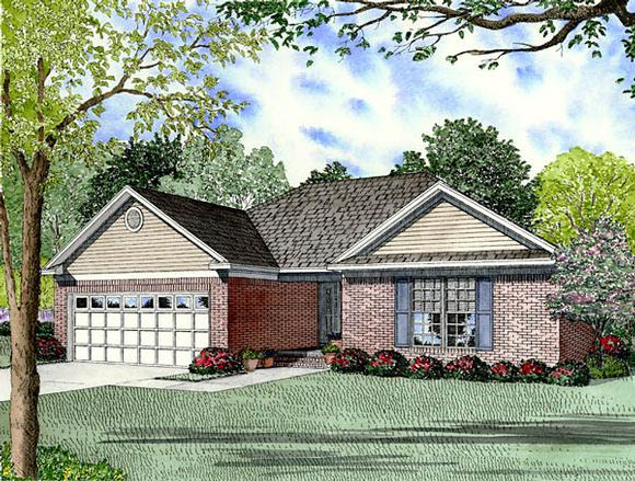 European, Traditional House Plan 61296 with 3 Beds, 2 Baths, 2 Car Garage Elevation