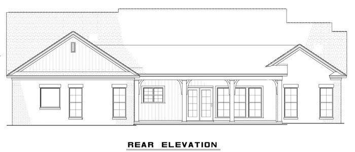 Country Craftsman Ranch Traditional House Plan 61297 Rear Elevation