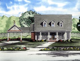 Cape Cod , One-Story House Plan 61310 with 3 Beds, 2 Baths, 2 Car Garage Elevation